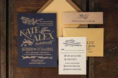 Ladyfingers Letterpress, Custom Navy and Gold Invitation Suite