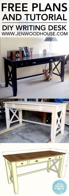 How to build a DIY writing desk. Free plans and tutorial. Looks pretty easy to build.
