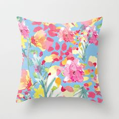 Floral watercolor illustration pattern Throw Pillow by Laura Dro - $20.00