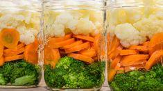 Jars of fresh cut vegetables Preserves, Broccoli, Carrots, Food And Drink, Jar, Fresh, Vegetables, Recipes, Preserve