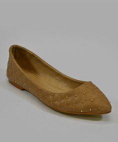 Take a look at this Camel Studded Flat by Lollipop Shoes on #zulily today!