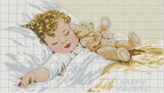 Hobby lavori femminili - ricamo - uncinetto - maglia: schema punto croce bimbo che dorme