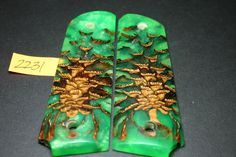 FIT - FLO GREEN CAST PINECONE PEARL FULL SIZE 1911 GRIPS Wood Mag 8rd Government #206grips