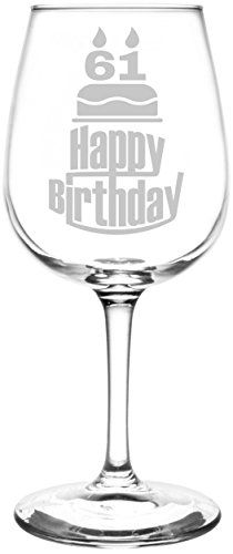 61st | Three Tier Happy Birthday Cake Decoration Inspired - Laser Engraved Libbey All-Purpose Wine Glass. Fast Free Shipping & 100% Satisfaction Guaranteed. The Perfect Gift!