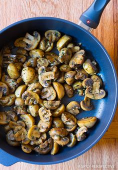AMAZING Sautéed Mushroom Recipe for topping steaks or risotto on ASpicyPerspective.com
