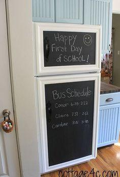 framed chalkboard panels for the fridge, appliances, cleaning tips, kitchen design