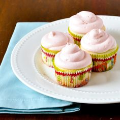 Lemon Cupcakes with Strawberry Cream Cheese Frosting