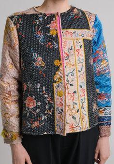 By Walid Custom Silk Waist Jacket in Pink/Blue