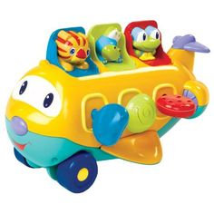 Bright Starts Peek-A-Zoom Toy by KIDS II. $29.99. From the Manufacturer                Let the good times roll. This cute airplane rolls along and features 3 surprise pop-up characters.                                    Product Description                Let the good times roll!  This cute airplane rolls along and features 3 surprise pop-up characters!    Large airplane with rolling wheels plays airplane sounds as baby moves it along. Slide, push, or unlock the key ...