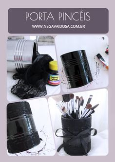 DIY (Faça Você Mesmo) Porta pincéis de maquiagem preto.   Makeup brush holder #diy #facavocemesmo #preto #renda #pinceis #portapinceis #maquiagem #blog