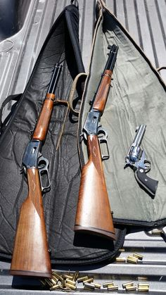 2 Marlin 357 and a ruger sass vaquero Henry Rifles, Firearms, Shotguns, Cowboy Action Shooting, Lever Action Rifles, Springfield Armory, Wood Steel, Cool Guns, Knives And Swords