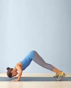 7-Back - Diamond Dog Part 2: Focus on pulling your shoulder blades down your back so that your shoulders don't creep toward your ears. This helps you better target the muscles in your back. Repeat 6-10 Reps. What It Does: Stretches hamstrings and strengthens arms, shoulders, abdominals, and upper back