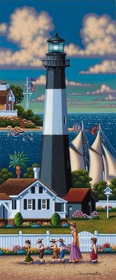 Tybee Island Lighthouse by Eric Dowdle - Tybee Island, Georgia Tybee Island Lighthouse, Boat Lights, Lighthouse Painting, Lighthouse Pictures, Beacon Of Light, Naive Art, Windmill, Home Art, Original Paintings