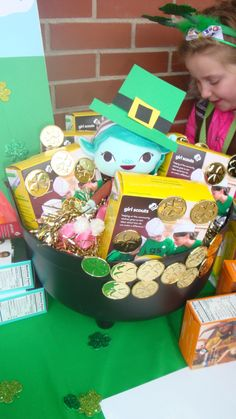 St. Patrick's Day theme for Girl Scout cookie booth