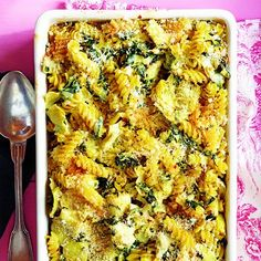 creamy spinach and artichoke baked pasta.