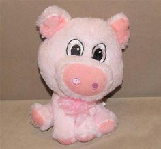 "Walmart Pink Pig Piggy Big Head Eyes Plush Stuffed Animal Toy PT66456-E 8"" Bow #Walmart"