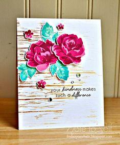 Vintage Flowers, Woodgrain Background: Altenew, flower sketch, Note To Self: