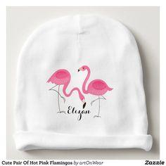 Niedliche Paare heißes Rosa-Flamingos Babymütze | Zazzle