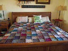 King Patchwork Rag Quilt - Handmade, Frayed, Rustic, Western