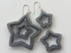 Grey Stars Earrings Available in my Etsy shop