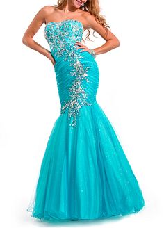 Buy discount Magnificent Satin & Tulle & Sequin Net Mermaid Ruched Floor Length Prom Gown With Beadings at Dressilyme.com