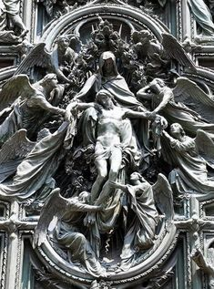Detail of the portal sculpture of the Duomo in Milan, Italy Catholic Art, Religious Art, Art Ancien, Religious Tattoos, Angel Statues, Angels And Demons, Classical Art, Angel Art, Renaissance Art