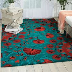 """Nourison Suzani SUZ02 Hand-tufted Area Rug - On Sale - Overstock - 7599401 - 2'3"""" x 8' Runner - Teal Teal Rug, Teal Area Rug, Tiny Living Rooms, Area Rugs For Sale, Red And Teal, Brown Furniture, Area Rug Sizes, Rug Material, Indoor Rugs"""