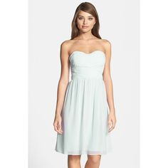 Donna Morgan Sarah Strapless Ruched Chiffon Dress ($90) ❤ liked on Polyvore featuring dresses, hint of mint, a line chiffon dress, a line dress, mint dress, white a line dress and ruched dress