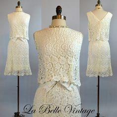 Romantic Ivory Lace  Vintage 60s Wedding Dress  by labellevintage