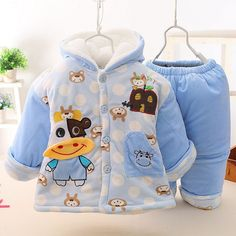 Baby Winter Thick Infant Clothing Set Baby Boy Girl Cartoon Cow Clothes Sets Velour Baby's Warm Outwear Coat + Pants Twinset -in Clothing Sets from Mother & Kids on Aliexpress.com   Alibaba Group