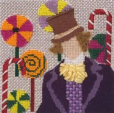 Melissa Prince Willie Wonka needlepoint coaster
