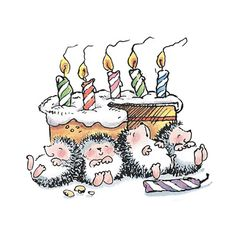 A Hedgehog birthday overindulgence ...I have this Penny Black print in stamp form!