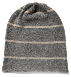Men's Cashmere Stripe Hat, Gray/Brown -- Made of soft and sumptuous cashmere with a neutral striped pattern, this cozy hat will keep him warm while looking cool.