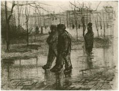 Vincent van Gogh Drawing, Pencil Paris: Spring, 1886 Van Gogh Museum Amsterdam, The Netherlands, Europe F: 1381r, JH: 1023 Image Only - Van Gogh: Public Garden with People Walking in the Rain, A