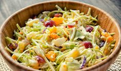Fruity coleslaw...if/when I make this, I will use jicama in place of most of the cabbage.