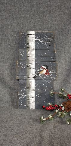 Christmas painting on pallet wood, White Birch and bird with red scarf, Red buffalo plaid scarf, hand painted Christmas decor on wood - Pallet Diy Painting On Pallet Wood, Wood Pallet Art, Wood Pallets, Wood Art, Pallet Boards, Painted Pallets, Pallet Furniture, Christmas Wood, Christmas Crafts