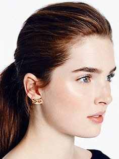tied up pave studs, clear/gold