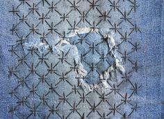 Sashiko jeans repair - rice grain pattern