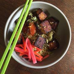 Pan-seared-tofu-rice bowl