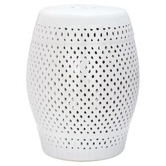 Featuring an open latticework design, this lovely ceramic garden stool is perfect for resting your latest read in the living room or displaying a bouquet of ...