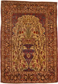 Kerman rug  South Central Persia  Late 19th century  size approximately 4ft. 8in. x 6ft. 9in.