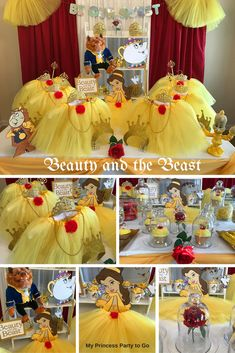Planning a Princess Birthday Party? Our new Beauty and Beast Party in a Box includes Belle's yellow tutus with rose trims, golden tiaras, magical wands, necklaces, glitter crafts and more at must see prices. Visit us today at www.myprincesspartytogo.com #beautyandthebeastpartyideas