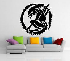 Alien-Wall-Decal-Vinyl-Xenomorph-Monster-Sticker-Movie-Art-Decor-Home-Mural-42z