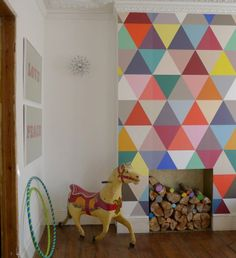 Geometric Wall Murals Kaleidoscope Harlequin Wallpaper Geometry wallpaper, isosceles and right angle triangles create a contemporary design. Brights and pastels with a black and white contrasting stripe.A generic wa Mosaic Wallpaper, Harlequin Wallpaper, Of Wallpaper, Playroom Wallpaper, Playroom Mural, Feature Wallpaper, Wallpaper Patterns, Bedroom Wallpaper, Wall Patterns