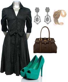 """Black Pinstripe Dress"" by ladiesfashionsense on Polyvore"