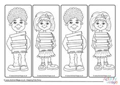 Children with books colouring bookmarks