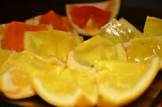 Jelly shots! Split oranges in the middle and scoop out all the orange inside. Mix jelly as described on the jelly package, but replace some of the water with spirits (depending on how strong you want the shots to be). Pour it into all the half oranges and put them in the fridge. When the jelly is ready for serving, split into orange boats. Enjoy!