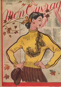 Mon Ouvrage women's needlework magazine - November 1951 embroidered knit pullover pattern issue - French 50s vintage