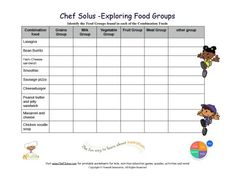 Printable Combination Foods Worksheet