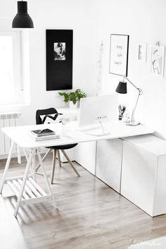 """Littlefew Blog // MY WORKSPACE. NEW DISTRIBUTION IN """"L"""".  My home, decoración, Nordic inspiration, black and white, decoración nórdica, almacenaje, storage, home details, decorar con plantas, espacio de trabajo, Ikea, estilo nórdico, business decor, decorar un despacho, trabajar en casa, workspace at home, white furniture, black details, on the wall."""